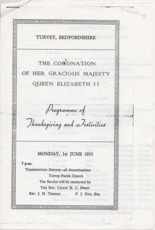 Programme of Thanksgiving and Festivities on the Coronation of Queen Elizabeth II