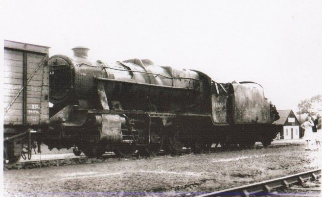 Wrecked steam locomotive at Turvey Station