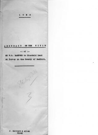 Abstract of the Title of Mr. W.G. Bamford to Freehold Land at Turvey