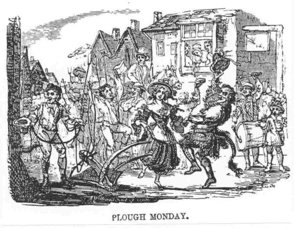 Old print (possibly 1700s) of Plough Monday dancers