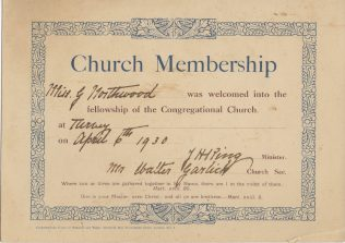 Congregational Church membership certificate for Miss G. Northwood, 1930.