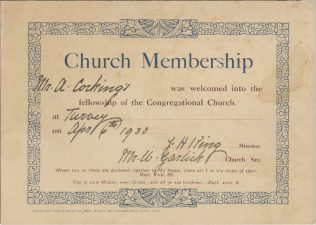 Congregational Church membership certificate for Mr A. Cockings, 1930