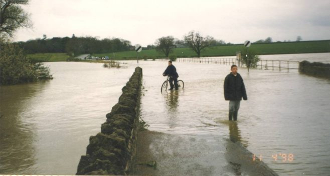 Turvey Bridge flooded at western end