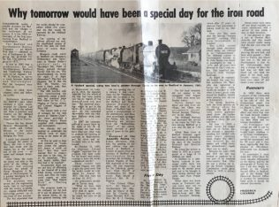 Why tomorrow would have been a special day for the iron road