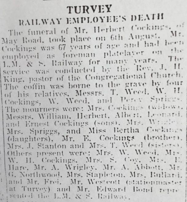Turvey Railway Employees Death