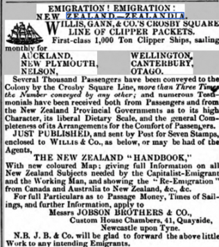 A typical advert from the 1850's