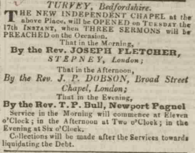 Advertisement for the opening service. Northampton Mercury 14th March 1829.