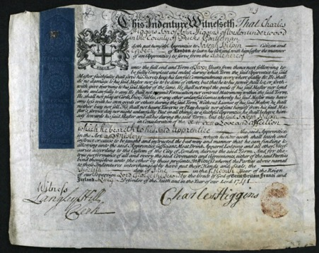 Indenture of Charles Higgins to Joseph Kilpin. Reproduced with the permission of the London Metropolitan Archives. | London Metropolitan Archives