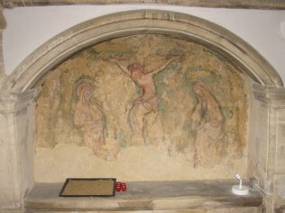 All Saints Turvey - fresco painting of the Crucifixion, showing Christ, Mary and St John. | Jane Brewster