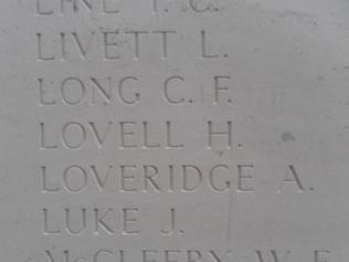 Lovell Horace. Menin Gare Memorial Ypes Belgium