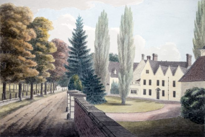 Turvey Abbey at gate nearest the Village