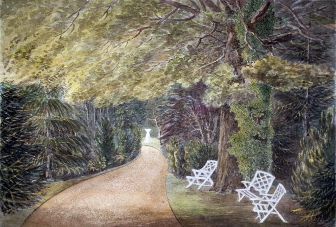 Turvey Abbey Garden with Chairs