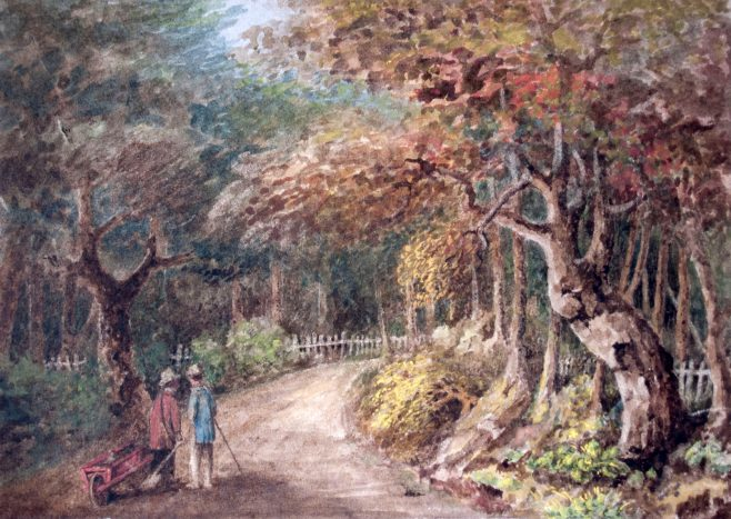 Two Figures on Road
