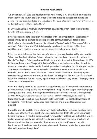 Obituary for Revd. Peter Jeffery