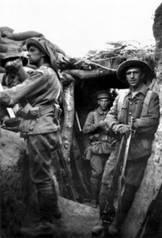 4th Battalion men in captured Turkish trenches, photograph actually taken on 6th August 1915 | With the permission of Australian War Memorial. Canberra
