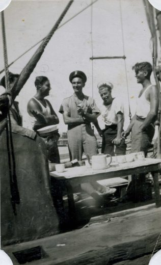 Shipmates of Bill Bartram (second on the left) on board HMD Victoria 1. Dated 1941