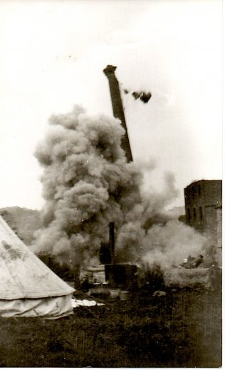 Demolition of the chimney at Turvey Mill