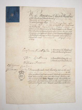 Confirmation Certificate of John Higgins