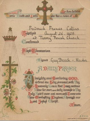 Baptism Card for Fred Collins