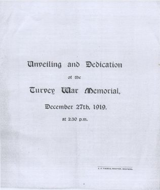 Programme for the unveiling of the Cross