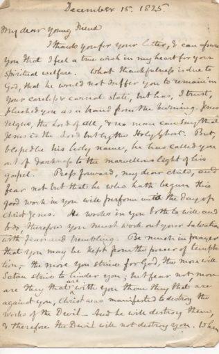 Letter to Sophia Edmunds from Revd. Legh Richmond