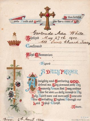 Baptism Card - Gertrude Ada White - All Saints Church
