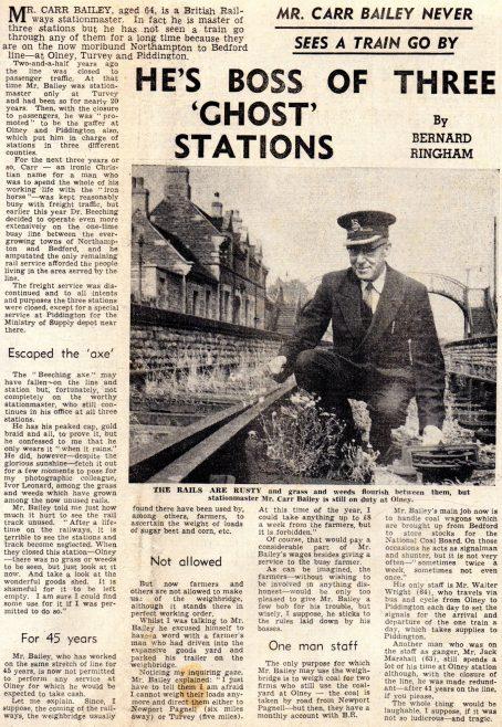 Mr Carr Bailey, Turvey Station Master